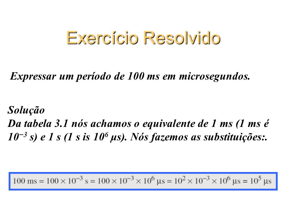 Exercício Resolvido Expressar um período de 100 ms em microsegundos.