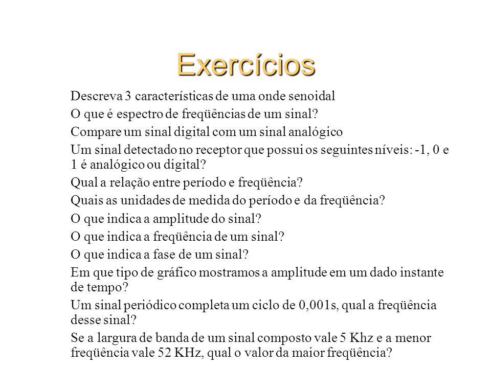 Exercícios Descreva 3 características de uma onde senoidal