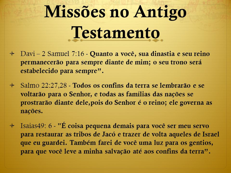 Missões no Antigo Testamento