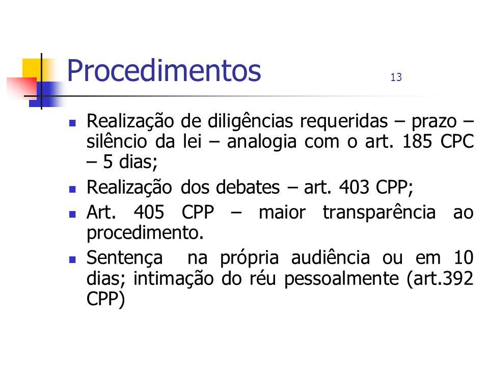 Procedimentos 13 Realização de diligências requeridas – prazo – silêncio da lei – analogia com o art. 185 CPC – 5 dias;