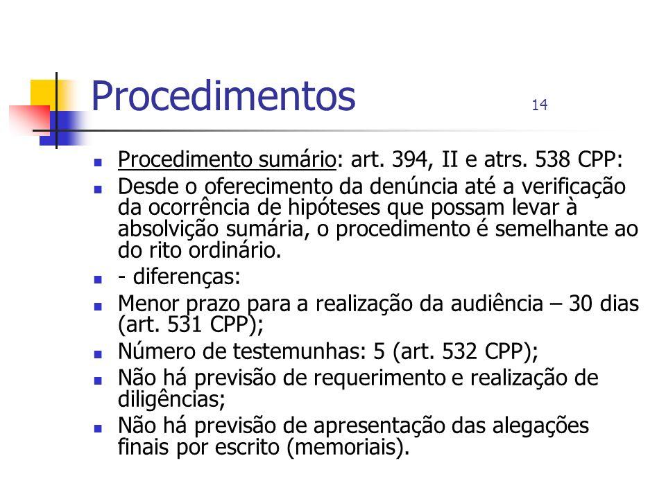 Procedimentos 14 Procedimento sumário: art. 394, II e atrs. 538 CPP: