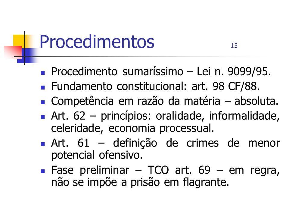 Procedimentos 15 Procedimento sumaríssimo – Lei n. 9099/95.