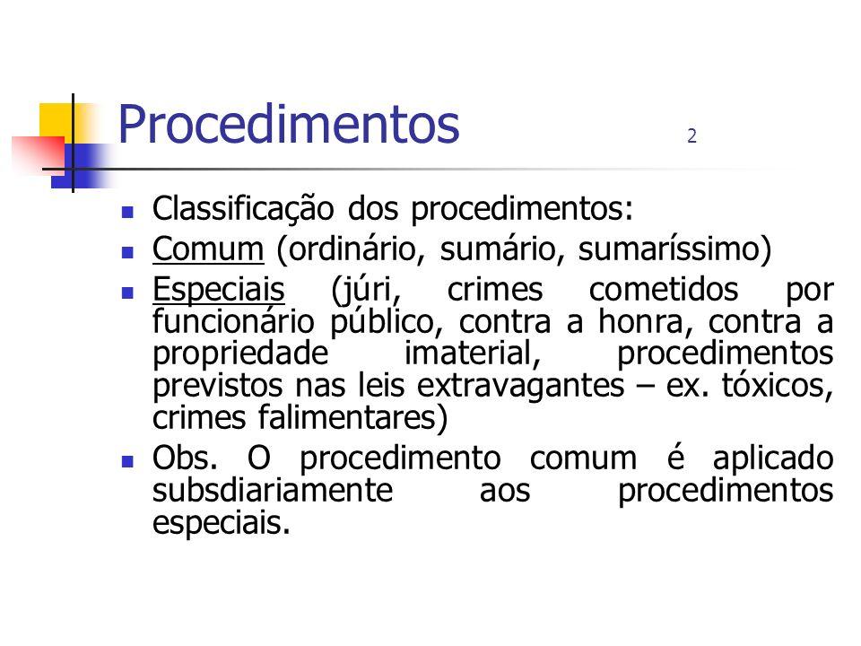 Procedimentos 2 Classificação dos procedimentos: