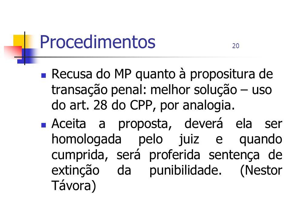 Procedimentos 20 Recusa do MP quanto à propositura de transação penal: melhor solução – uso do art. 28 do CPP, por analogia.