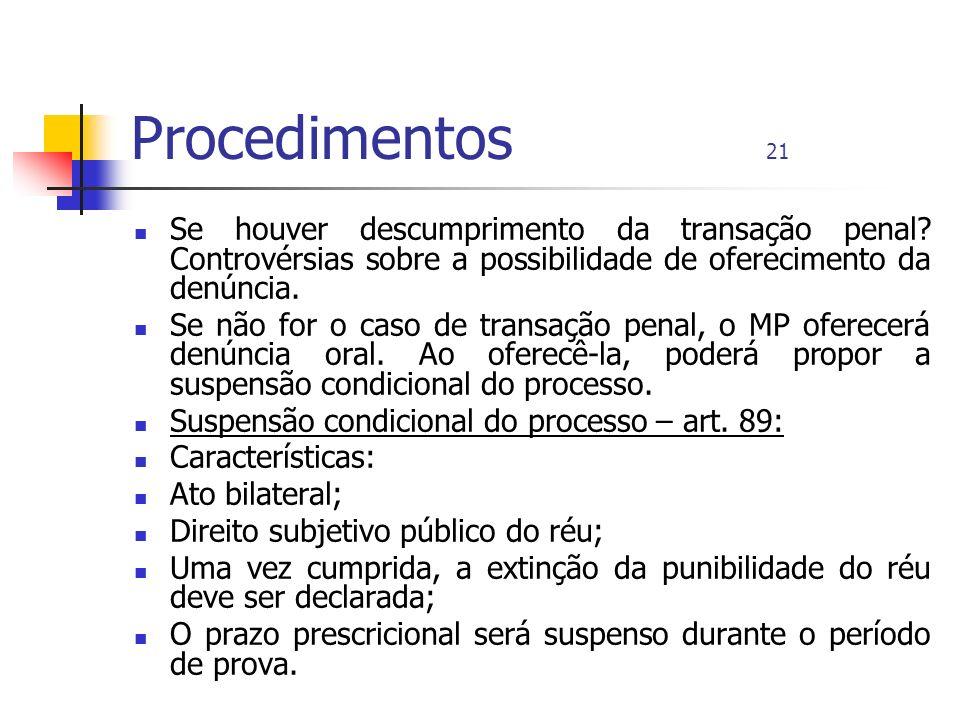 Procedimentos 21 Se houver descumprimento da transação penal Controvérsias sobre a possibilidade de oferecimento da denúncia.