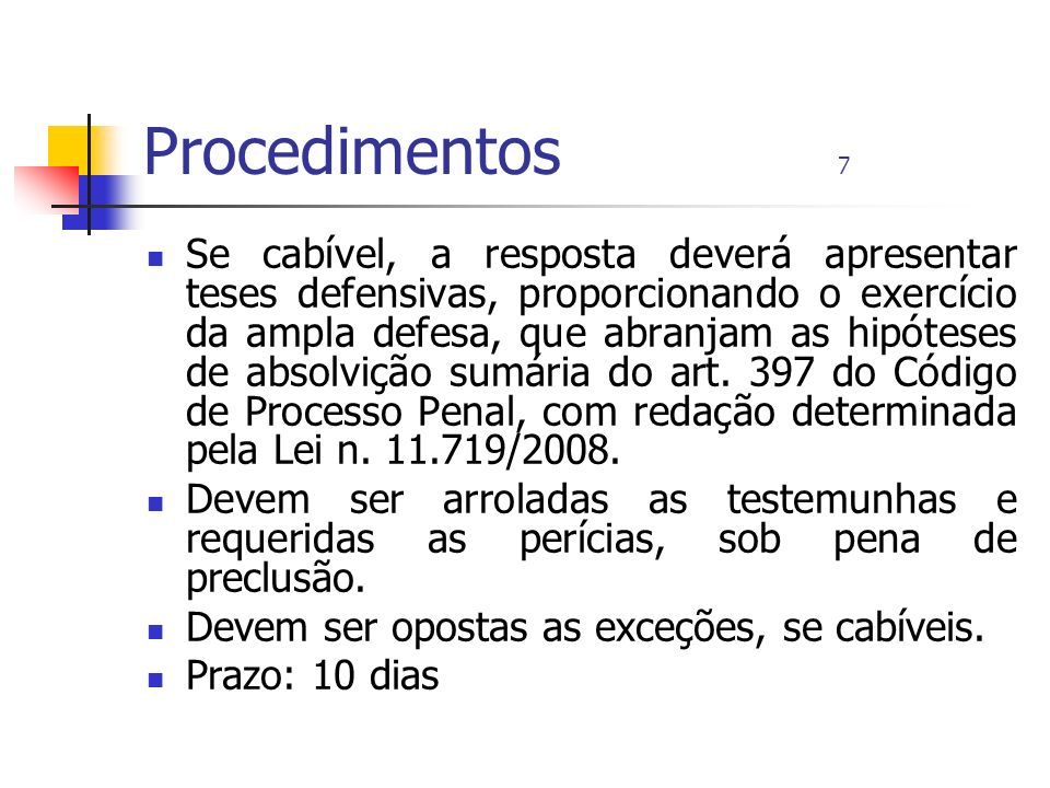 Procedimentos 7