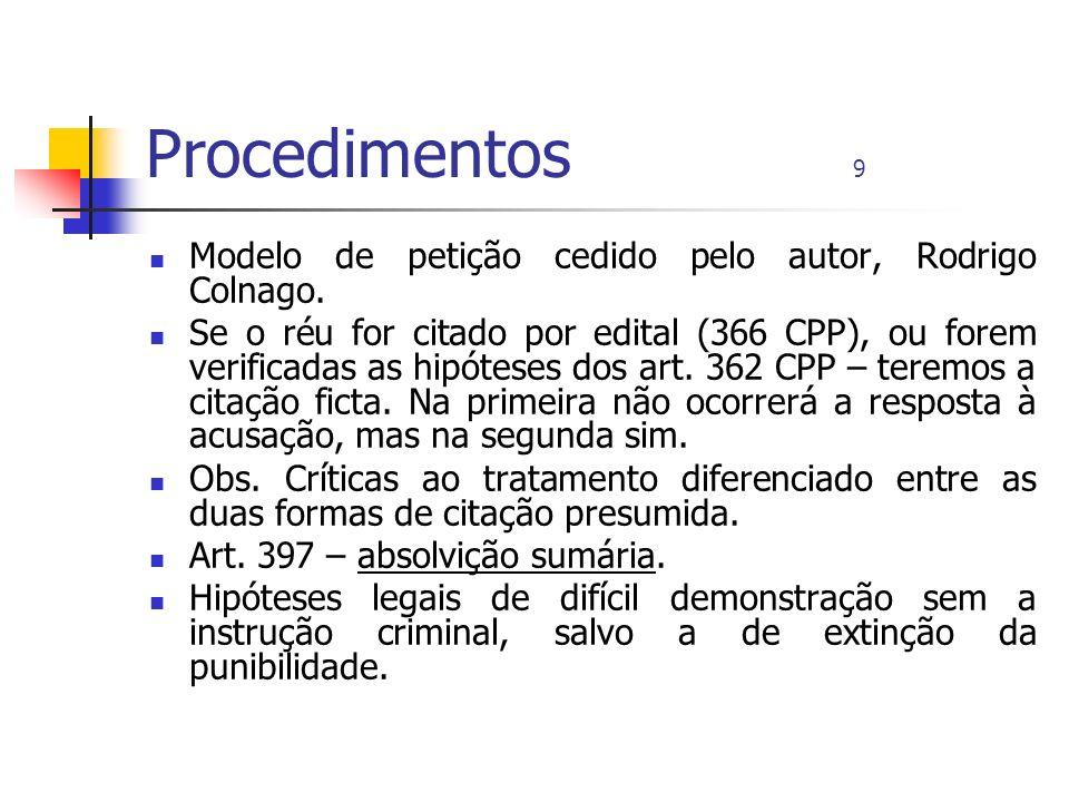 Procedimentos 9 Modelo de petição cedido pelo autor, Rodrigo Colnago.
