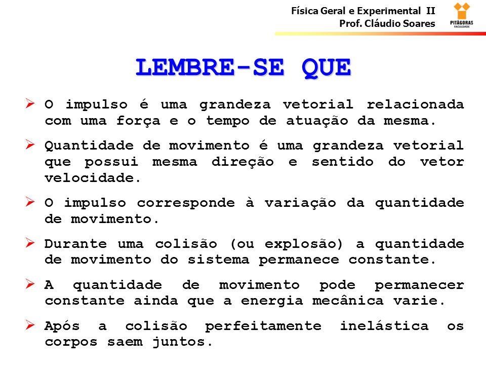 LEMBRE-SE QUE O impulso é uma grandeza vetorial relacionada com uma força e o tempo de atuação da mesma.