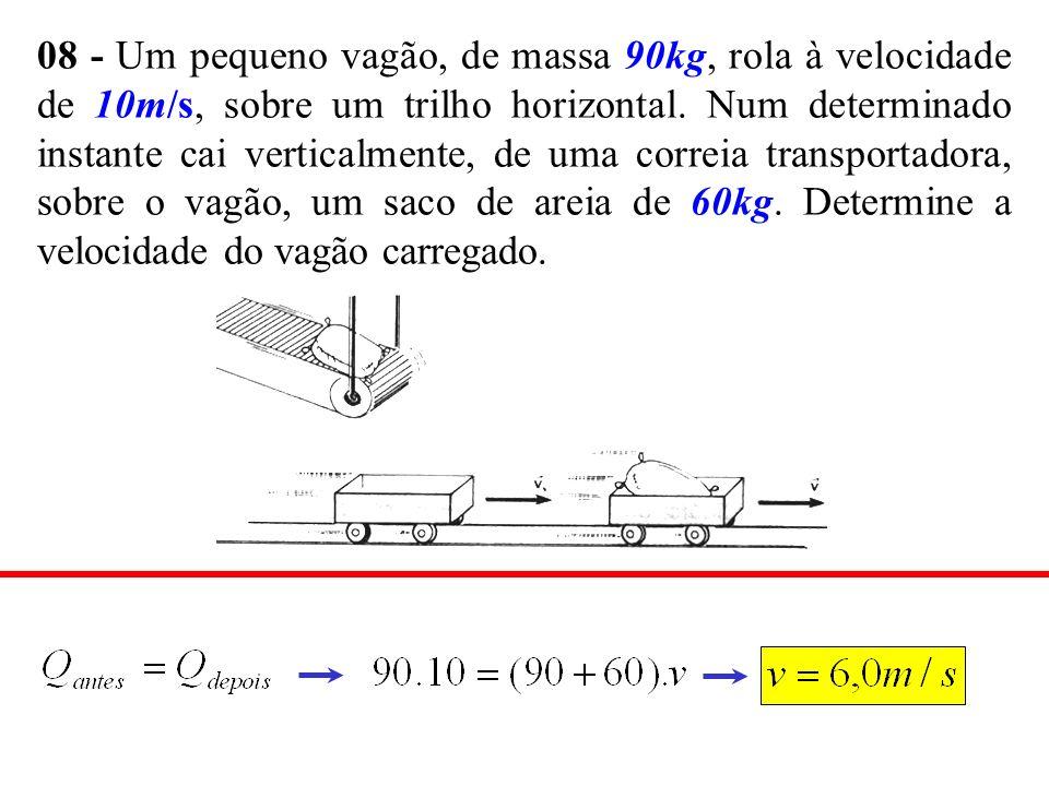 08 - Um pequeno vagão, de massa 90kg, rola à velocidade de 10m/s, sobre um trilho horizontal.