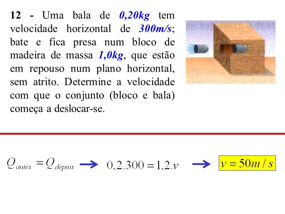 12 - Uma bala de 0,20kg tem velocidade horizontal de 300m/s; bate e fica presa num bloco de madeira de massa 1,0kg, que estão em repouso num plano horizontal, sem atrito.