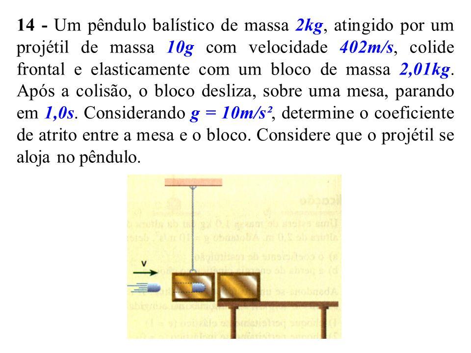 14 - Um pêndulo balístico de massa 2kg, atingido por um projétil de massa 10g com velocidade 402m/s, colide frontal e elasticamente com um bloco de massa 2,01kg.
