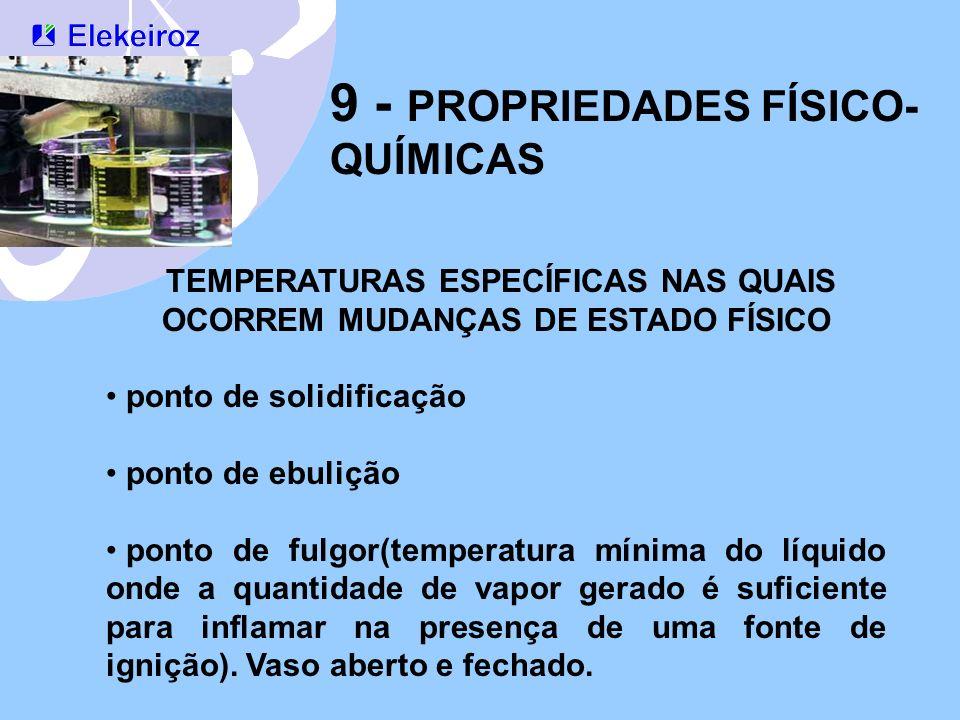 TEMPERATURAS ESPECÍFICAS NAS QUAIS OCORREM MUDANÇAS DE ESTADO FÍSICO