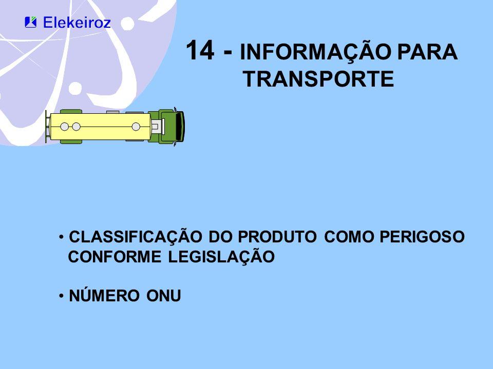 14 - INFORMAÇÃO PARA TRANSPORTE