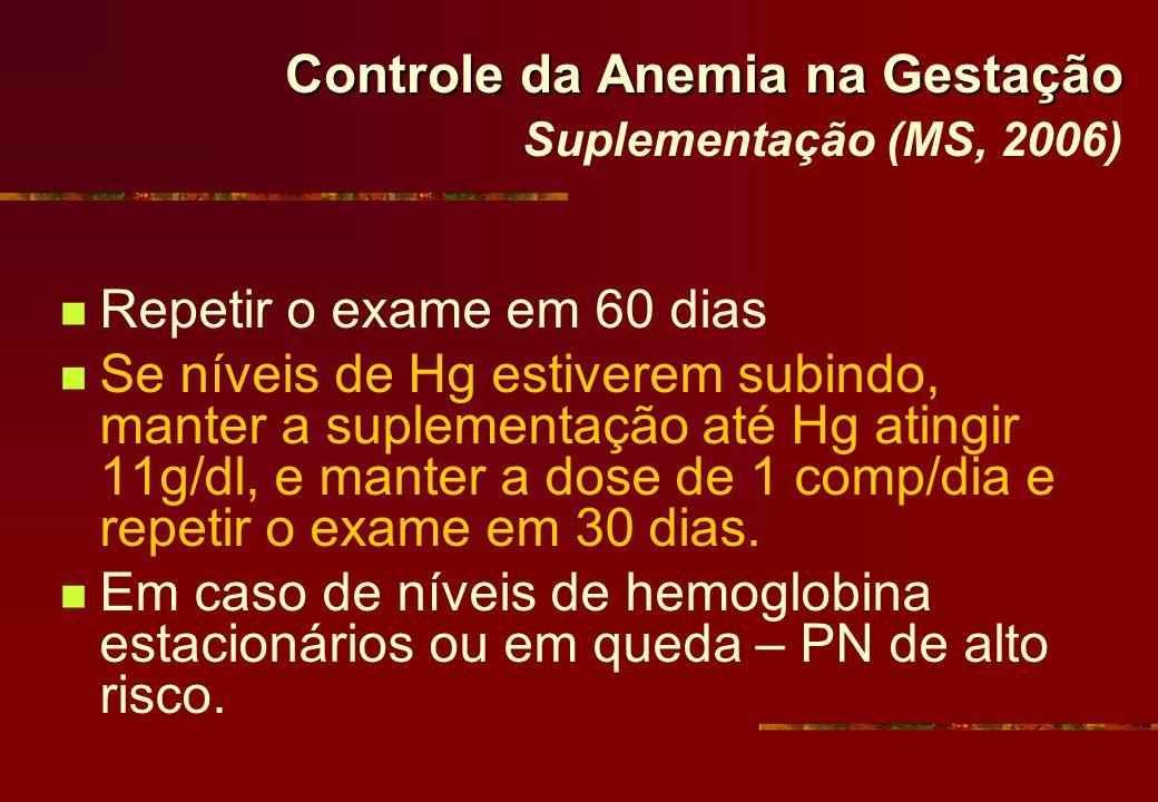 Controle da Anemia na Gestação Suplementação (MS, 2006)