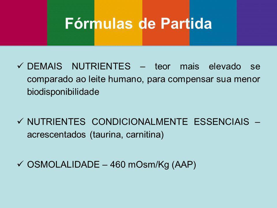 Fórmulas de Partida DEMAIS NUTRIENTES – teor mais elevado se comparado ao leite humano, para compensar sua menor biodisponibilidade.