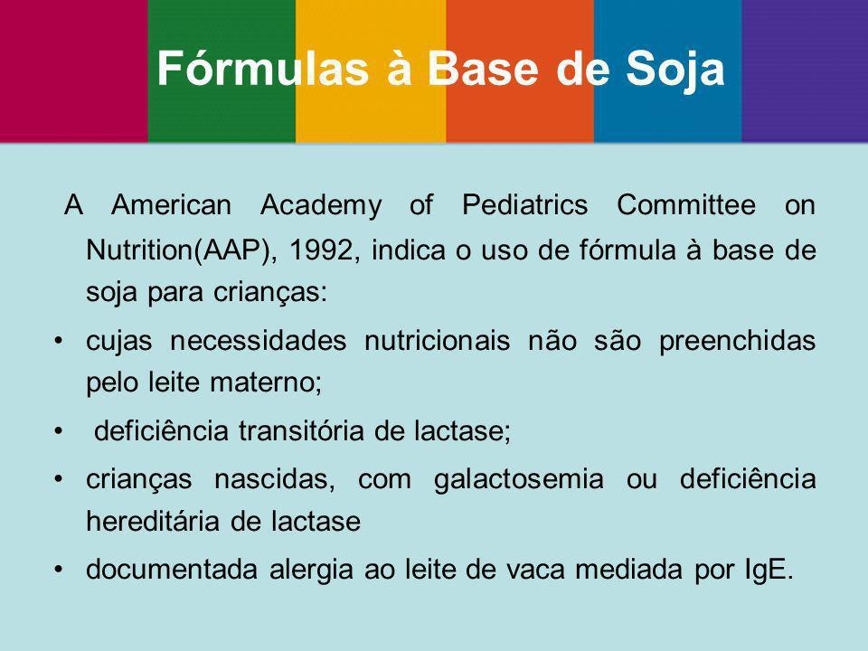 Fórmulas à Base de Soja A American Academy of Pediatrics Committee on Nutrition(AAP), 1992, indica o uso de fórmula à base de soja para crianças: