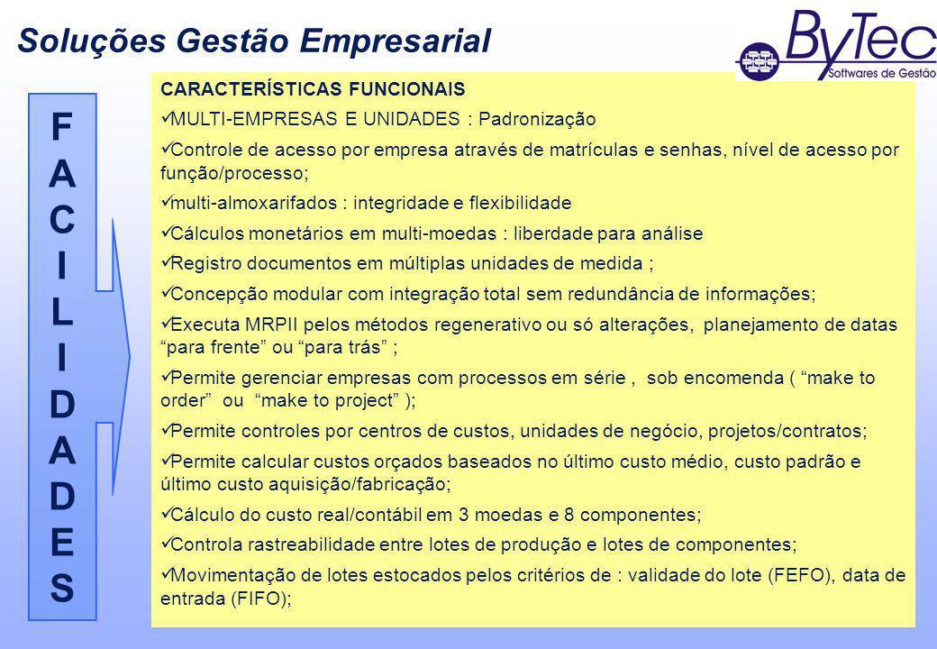 F A C I L D E S Soluções Gestão Empresarial CARACTERÍSTICAS FUNCIONAIS