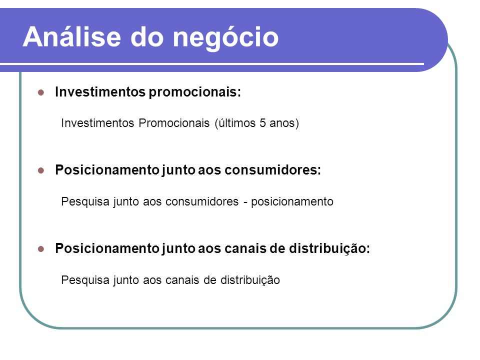Análise do negócio Investimentos promocionais: