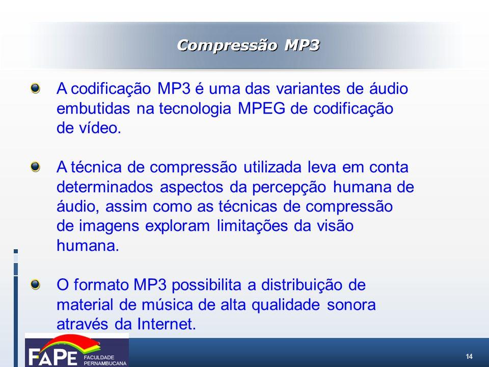 Compressão MP3 A codificação MP3 é uma das variantes de áudio embutidas na tecnologia MPEG de codificação de vídeo.