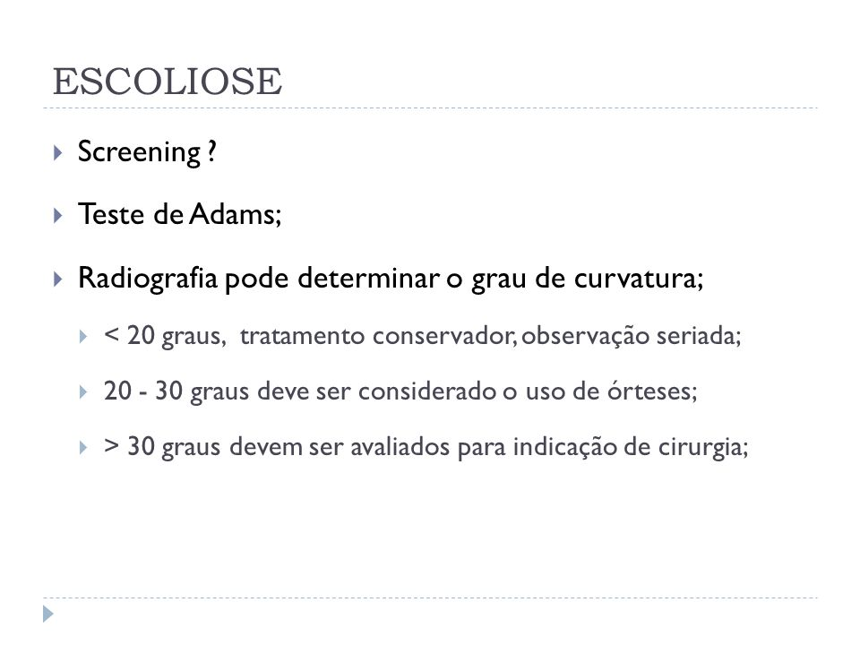 ESCOLIOSE Screening Teste de Adams;