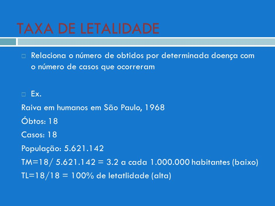 TAXA DE LETALIDADE Relaciona o número de obtidos por determinada doença com o número de casos que ocorreram.