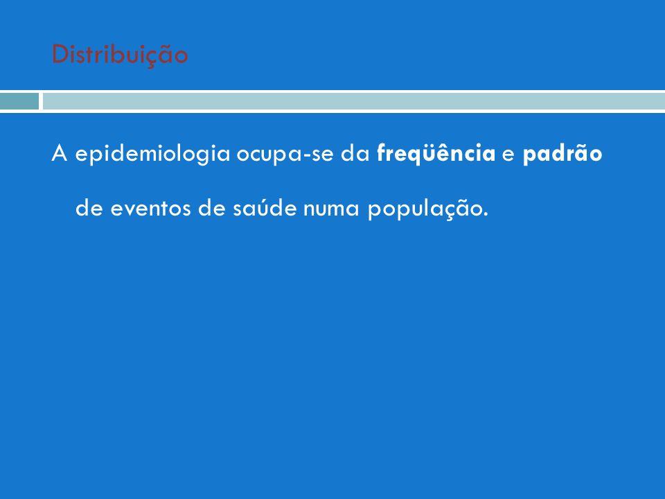 Distribuição A epidemiologia ocupa-se da freqüência e padrão de eventos de saúde numa população.