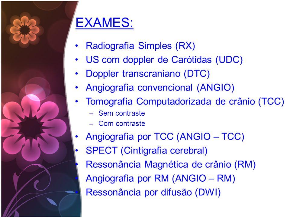 EXAMES: Radiografia Simples (RX) US com doppler de Carótidas (UDC)
