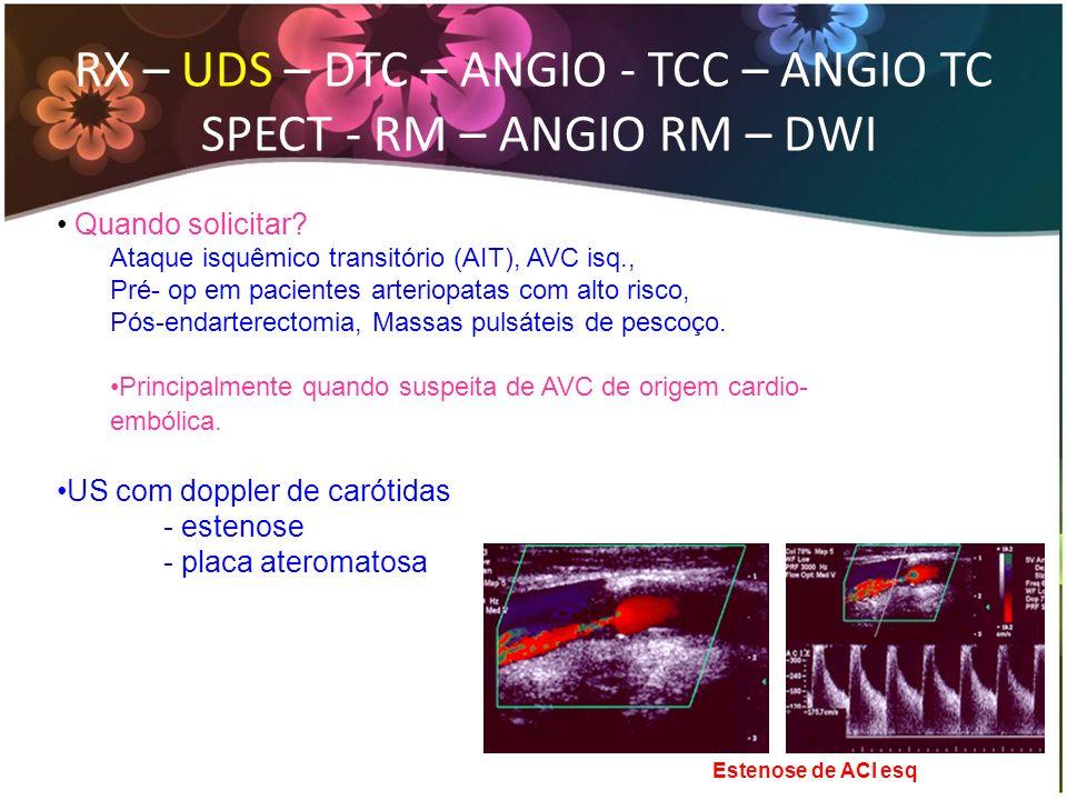 RX – UDS – DTC – ANGIO - TCC – ANGIO TC SPECT - RM – ANGIO RM – DWI