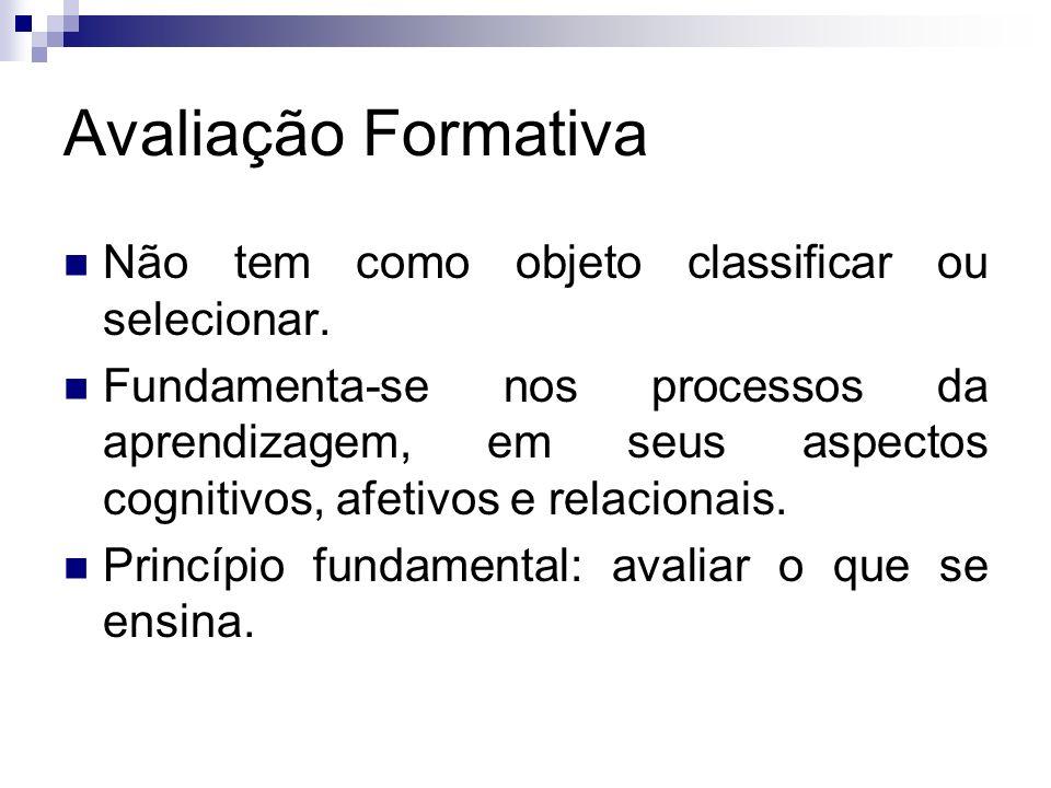 Avaliação Formativa Não tem como objeto classificar ou selecionar.