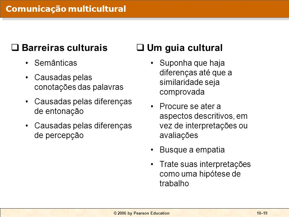 Barreiras culturais Um guia cultural Comunicação multicultural