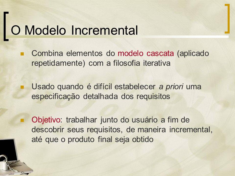 O Modelo Incremental Combina elementos do modelo cascata (aplicado repetidamente) com a filosofia iterativa.