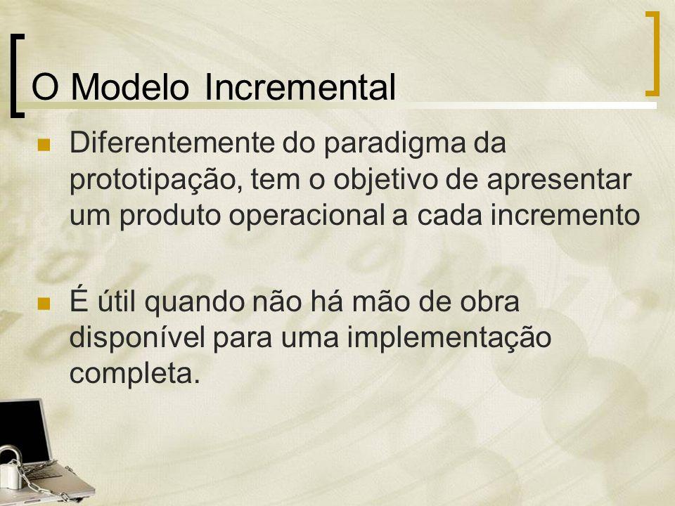 O Modelo Incremental Diferentemente do paradigma da prototipação, tem o objetivo de apresentar um produto operacional a cada incremento.