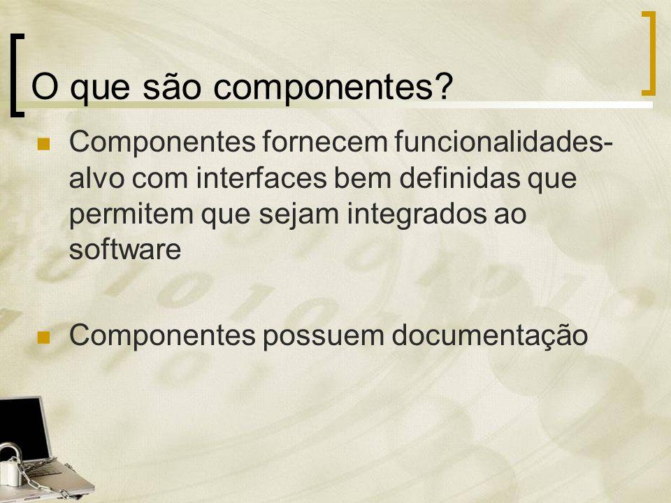 O que são componentes Componentes fornecem funcionalidades- alvo com interfaces bem definidas que permitem que sejam integrados ao software.