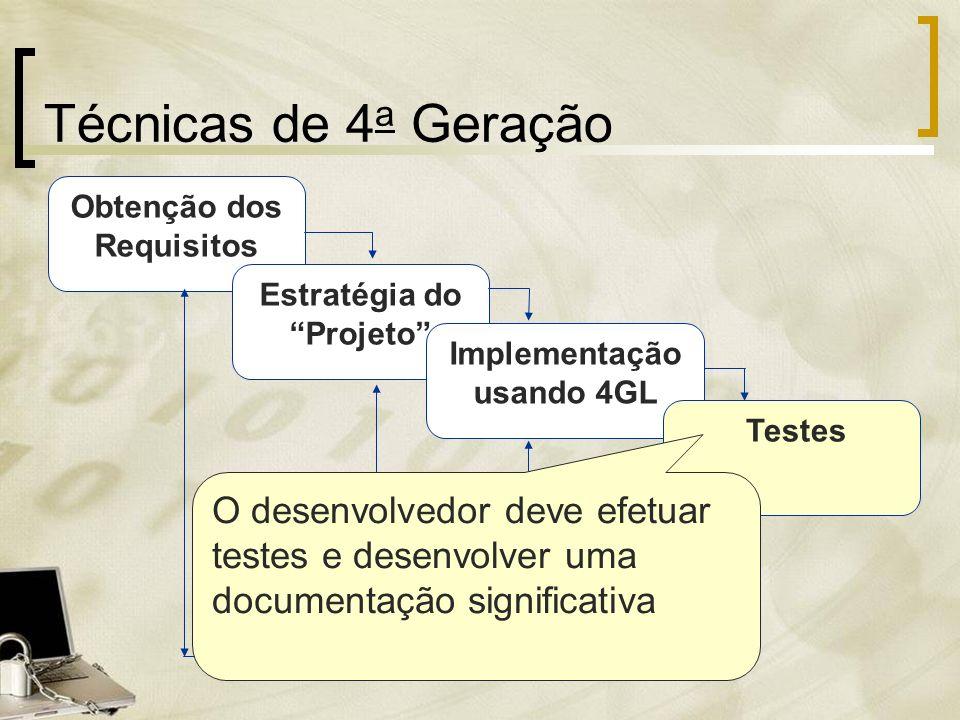 Técnicas de 4a Geração Obtenção dos Requisitos. Estratégia do Projeto Implementação usando 4GL.