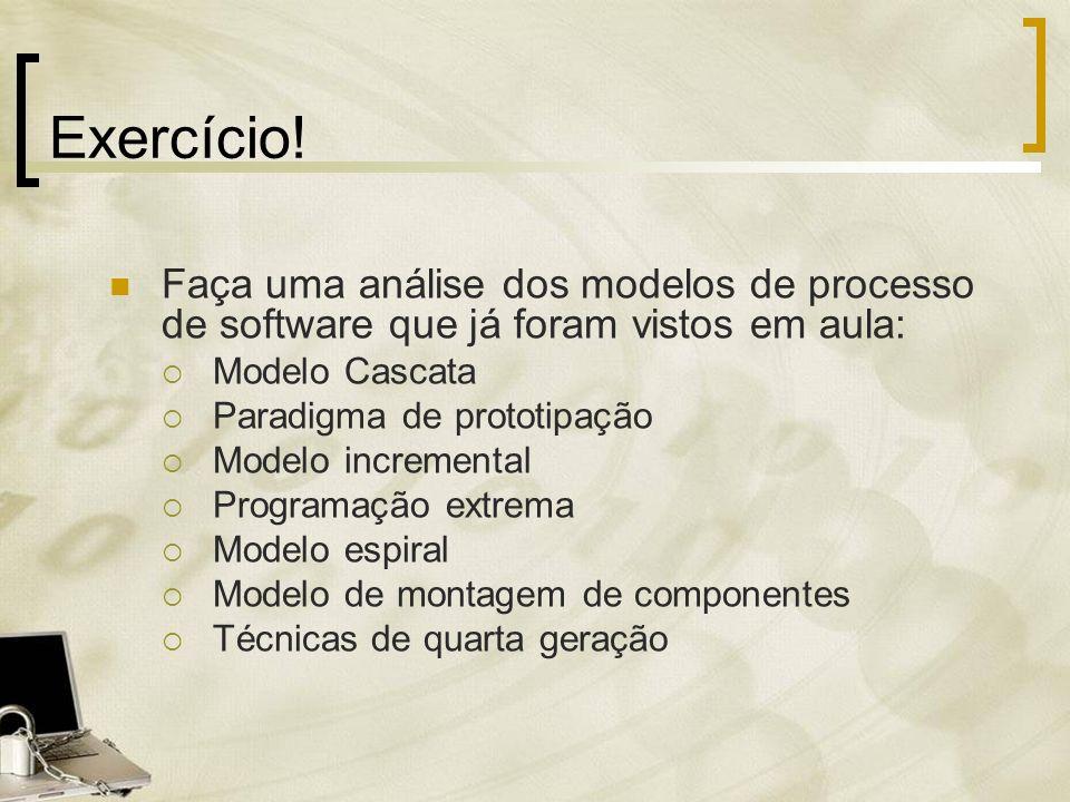 Exercício! Faça uma análise dos modelos de processo de software que já foram vistos em aula: Modelo Cascata.