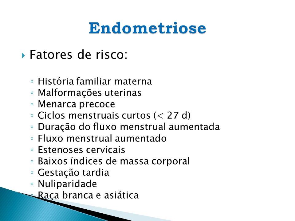 Endometriose Fatores de risco: História familiar materna
