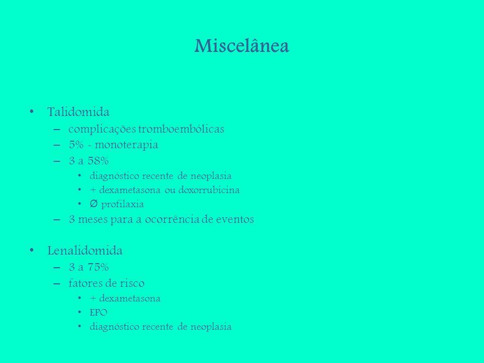 Miscelânea Talidomida Lenalidomida complicações tromboembólicas