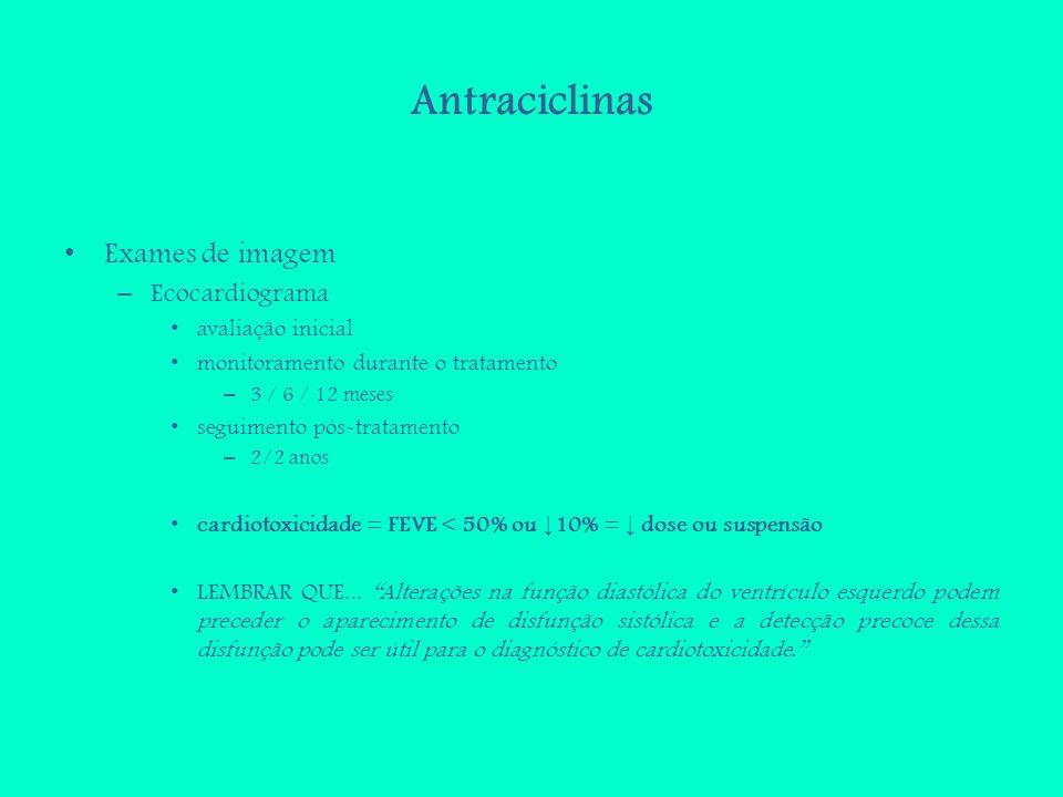 Antraciclinas Exames de imagem Ecocardiograma avaliação inicial