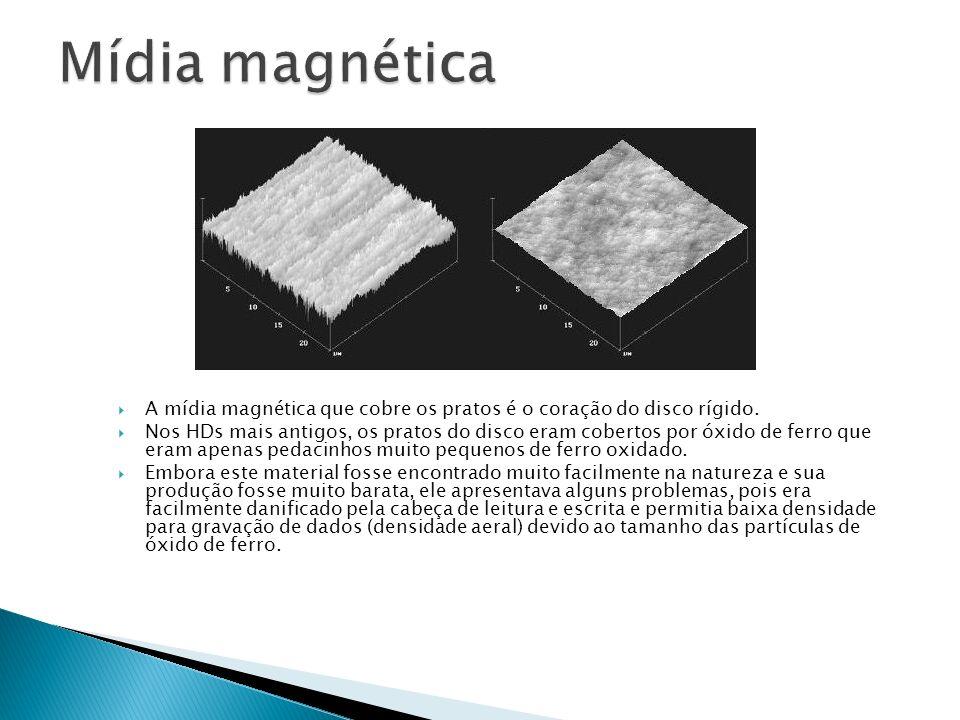 Mídia magnética A mídia magnética que cobre os pratos é o coração do disco rígido.