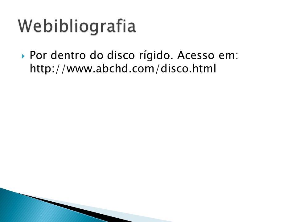 Webibliografia Por dentro do disco rígido. Acesso em: http://www.abchd.com/disco.html