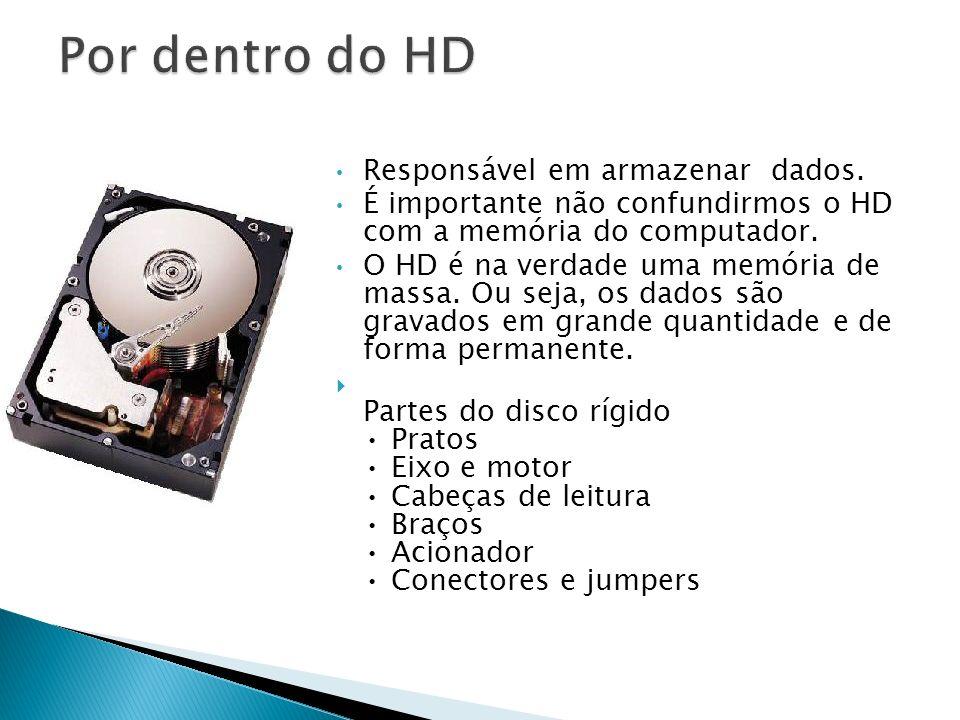 Por dentro do HD Responsável em armazenar dados.