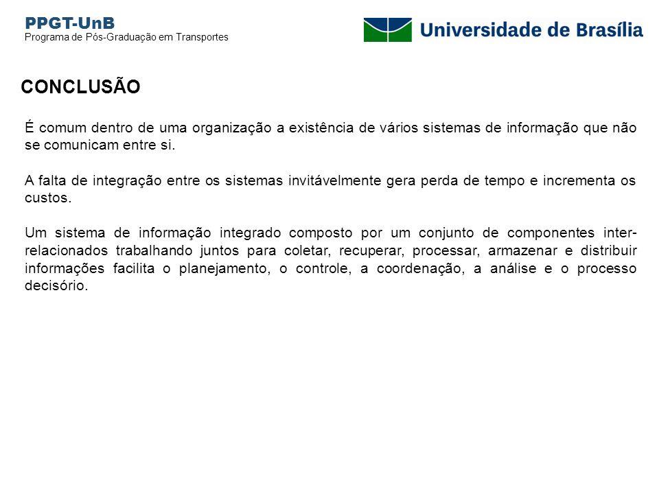 PPGT-UnB Programa de Pós-Graduação em Transportes. CONCLUSÃO.
