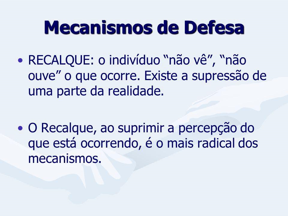 Mecanismos de Defesa RECALQUE: o indivíduo não vê , não ouve o que ocorre. Existe a supressão de uma parte da realidade.
