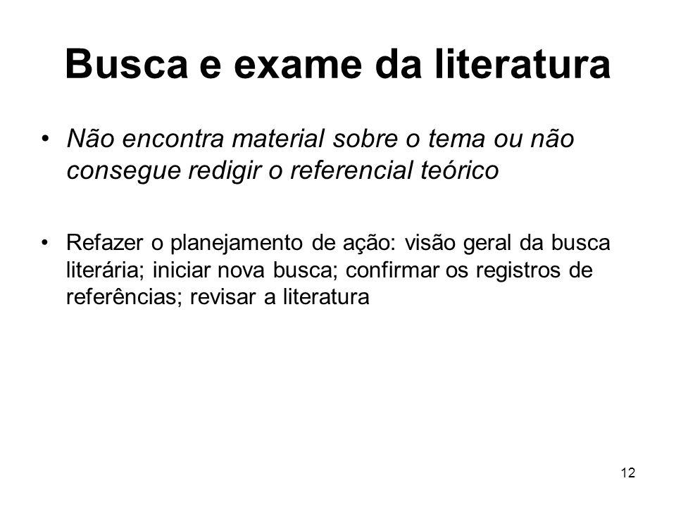 Busca e exame da literatura