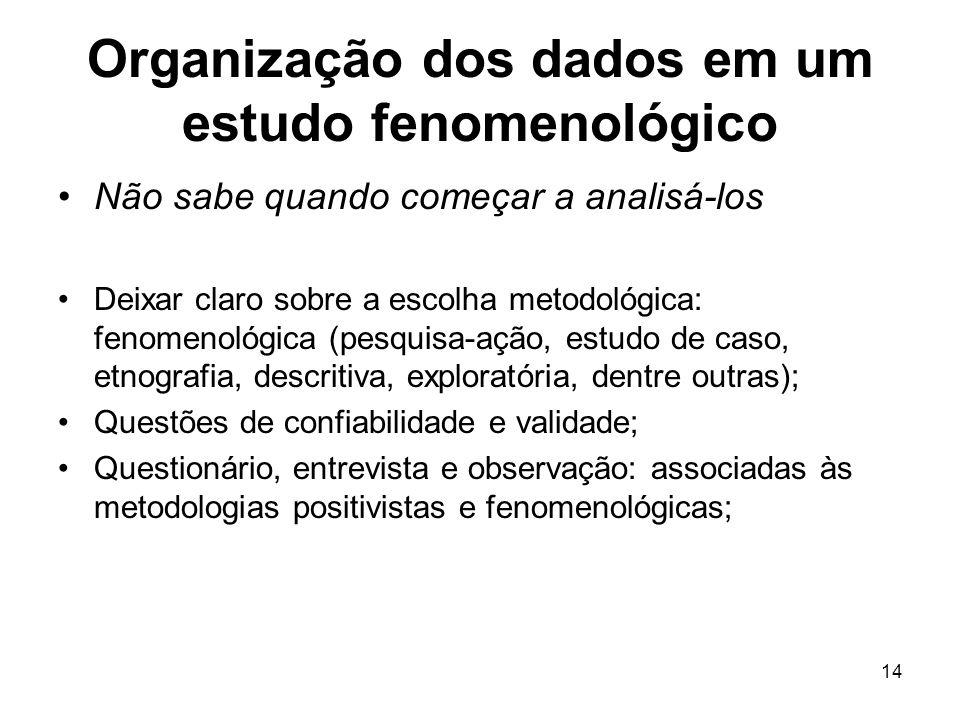 Organização dos dados em um estudo fenomenológico