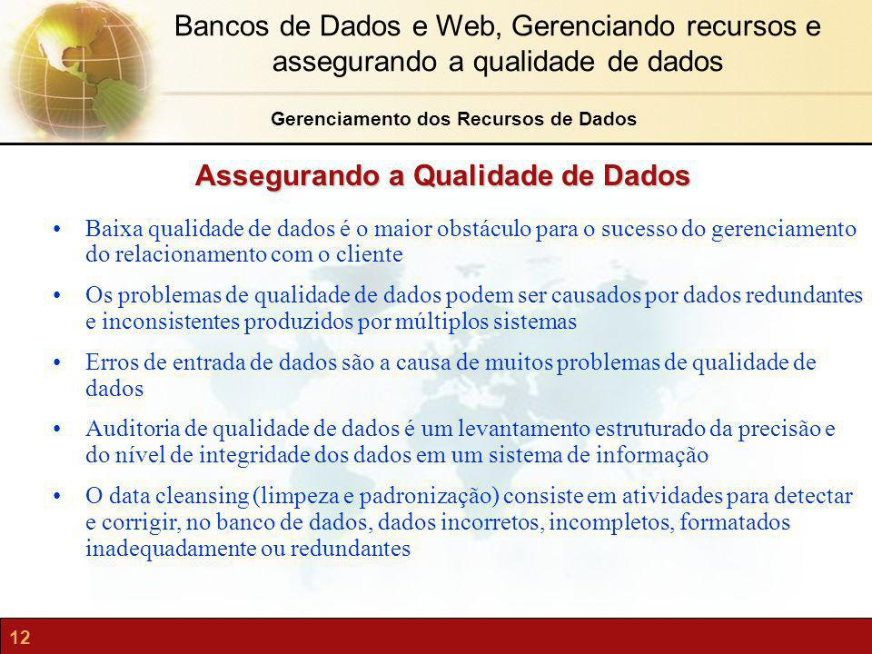 Gerenciamento dos Recursos de Dados Assegurando a Qualidade de Dados