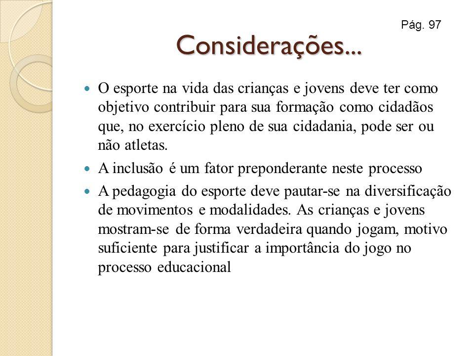 Considerações...Pág. 97.