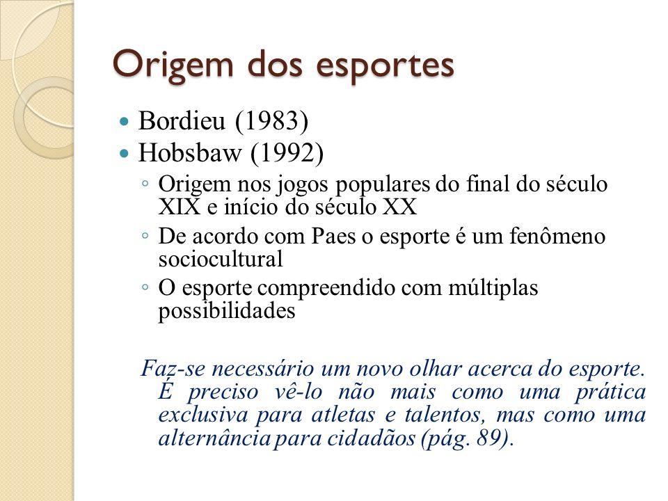 Origem dos esportes Bordieu (1983) Hobsbaw (1992)