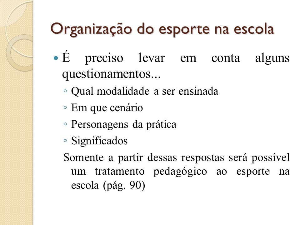 Organização do esporte na escola