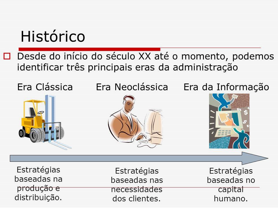 Histórico Desde do início do século XX até o momento, podemos identificar três principais eras da administração.